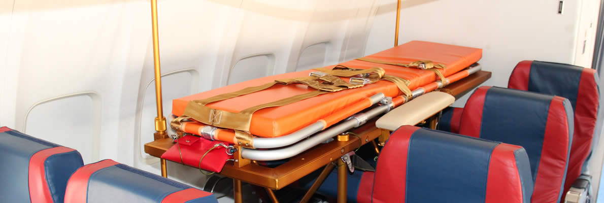 Barelle mediche a bordo aerei Albastar