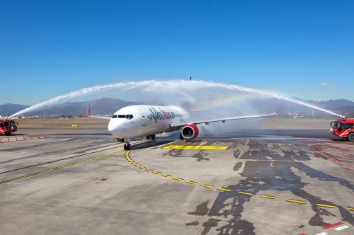 The latest news from Albastar take off: the Boeing 737-800 EC-MUB christening, expansion of its operational base at Milan Bergamo airport and a new online experience.